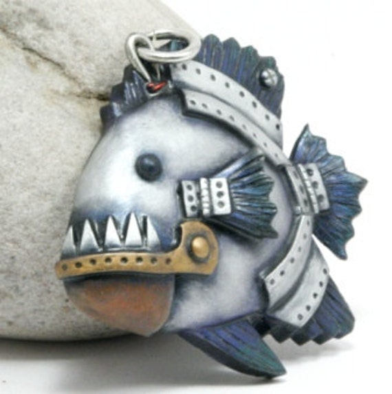 Piranha Pendant Steampunk Fish Faux Metal Teeth Hinged Jaw Fins