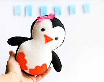Handmade Penguin Plush Toy, Baby Penguin Girl, Felt Penguin Toy, Baby Shower Gift, Holiday Gift, Christmas Penguin READY TO SHIP A652
