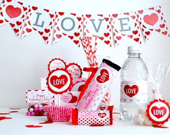 Sweet Love Valentine  Full Printable Collection PDF file , DIY party set   A489