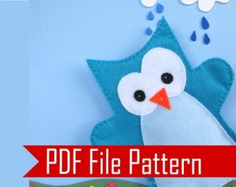 Owl Hand Puppet Pattern,  Sewing pattern - PDF ePATTERN  Instant Download A508