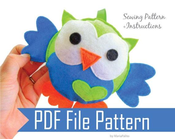 Owl pattern, felt owl plush toy patttern, PDF PATTERN, Owl Toy Pillow, nursery decor toy, room drcor, Instant Download A325