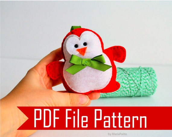 Christmas Penguin  Sewing pattern - PDF ePATTERN Christmas Ornament  Instant Download A509