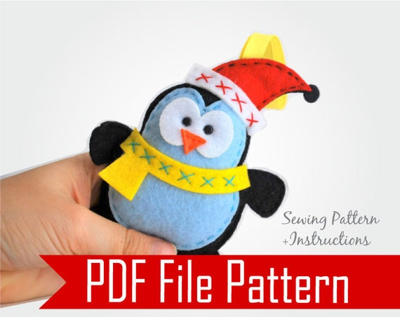 Penguin Pattern, Christmas Ornament,  Felt Penguin Ornament Sewing Pattern, Pdf Epattern,  Instant Download, A480