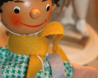 Hand Puppet Made In East Gemany - Spieldoast Sonneberg -Wooden Head - Origianl Tags
