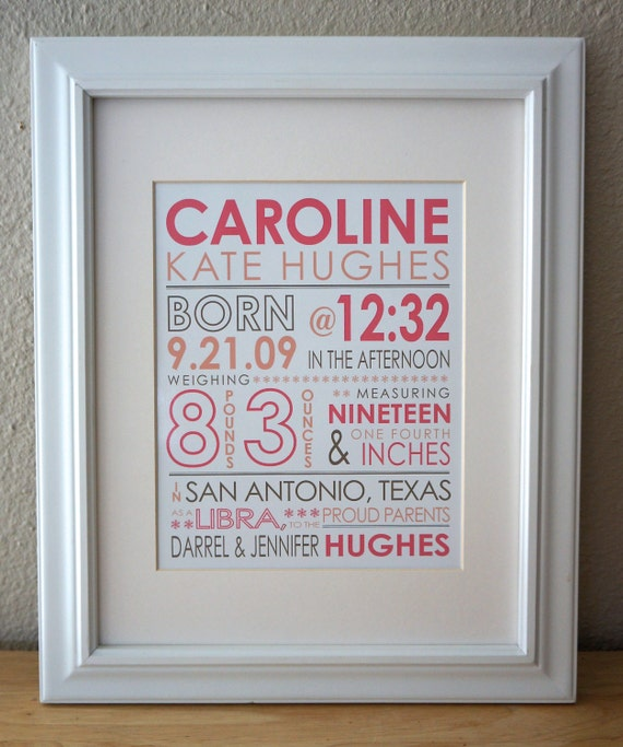Custom baby print birth stats print personalized nursery like this item negle Image collections
