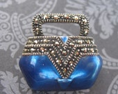 Vintage Judith Jack Sterling Silver And Enamel Marcasite Purse Pin Brooch Jewelry