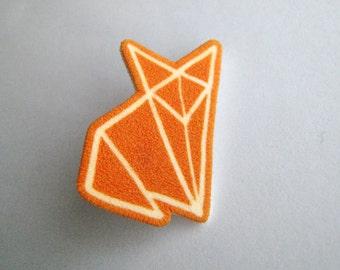 Orange Fox Origami Brooch pin badge shrinky plastic