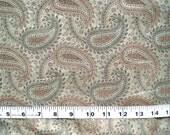 cotton silk fabric - woven paisley pistachio green silk - msc043 - 0.75 yard
