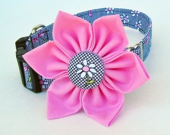 Adjustable Dog Collar Flower Set - Daisy Breast cancer - Made to order.