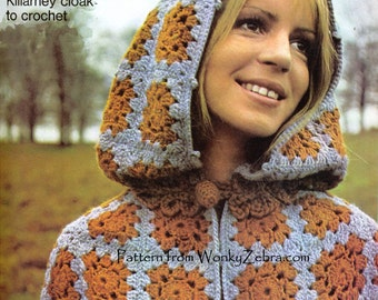 Vintage Crochet Kilarney Cloak Pattern PDF 495 from WonkyZebra