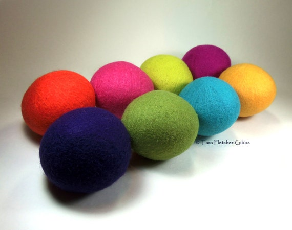 Wool Dryer Balls - Confetti Bright Set of 8 - An Eco-Friendly Alternative to the Conventional Dryer Sheet and Fabric Softener! New Mom Gift!
