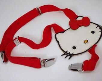 LAST CHANCE SALE Vintage Suspenders Retro 80s Classic Hello Kitty Red Stretch Sanrio Belt Accessory