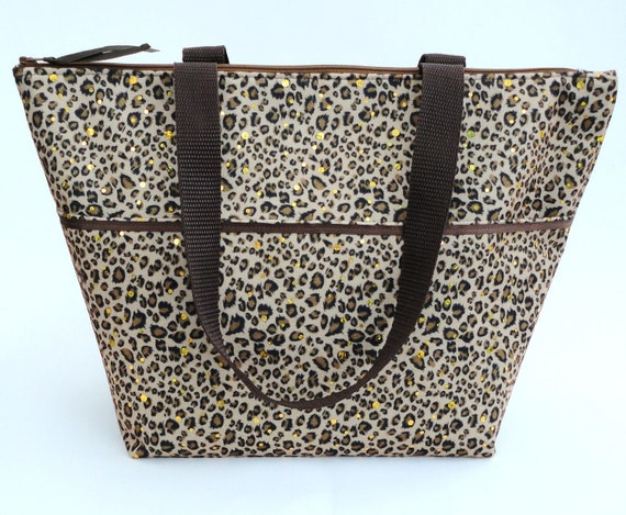 Insulated Lunch Tote Large In Leopard Print By