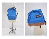 vintage backpack daypack EASTPAK carry on daypack day pack USA leather bottom