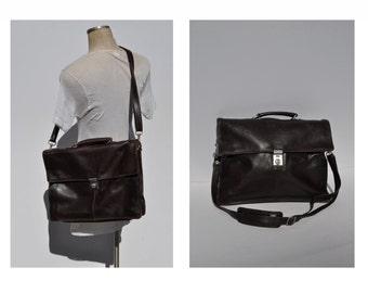 vintage leather bag satchel briefcase tote messenger bag laptop ipad saddle leather picard