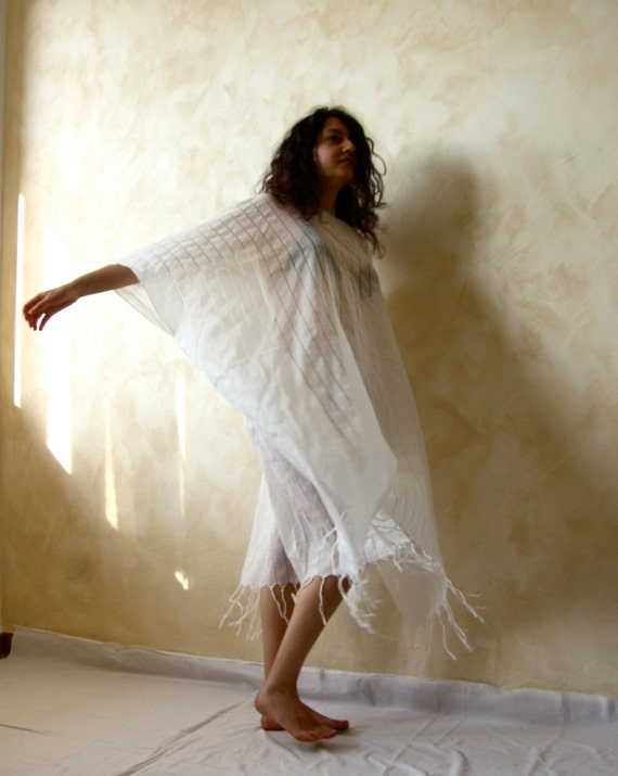 Beach White cotton tunic boho coverup - women see thru beach clothing