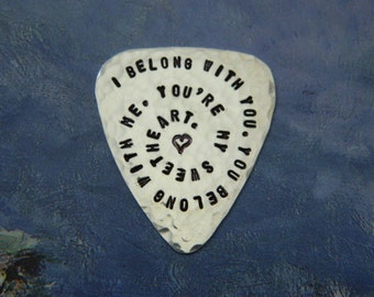 CUSTOM Guitar Pick, Sterling Silver, Useful Gift, Wedding, 25th Anniversary, Musician Thank You, Deployment, Welcome Home, Valentines