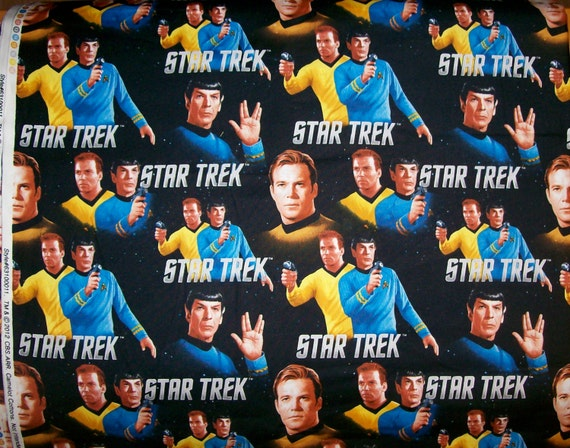 A Wonderful Star Trek With Captian Kirk And Spock Cotton Fabric BTY Free US Shipping