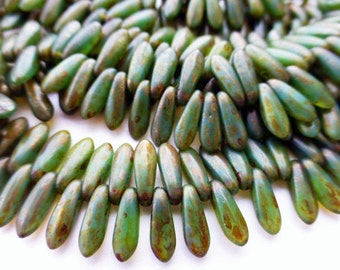 NEW COLOR   100 Czech Glass Tiny Dagger Drop Beads in Milky Green Turquoise with Copper Picasso Finish Size 3x10mm