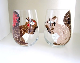 Mosaic Squirrels Wine Glasses- Set of 2
