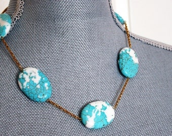 TURQUOISE Necklace stone blue gold plated pastel metal boho teal birthday white for her big large beaded beadwork stone oval strand