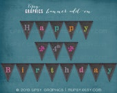 Colorful Chalkboard Printable Birthday Party BANNER by Tipsy Graphics. Chalkboard Tumble
