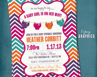 Stock the Diaper Bag. Corloful Chevron Diaper Baby Shower Invite by Tipsy Graphics.