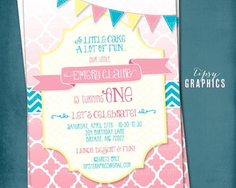Cake & Fun.  Ombré Quatrefoil Birthday / Baby / Bridal Shower Invite By Tipsy Graphics