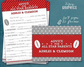 Football. Advice for All Star Baby or Parents. Funny MadLibs or Sweet Advice or Baby Stats. By Tipsy Graphics. Printable Cards any colors
