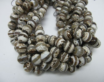 32mm  10mm faceted round hand paint Tibetan agate beads