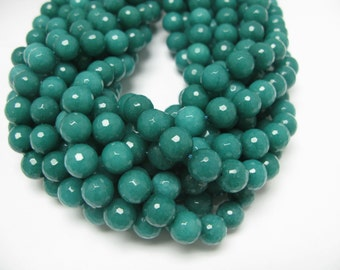 32 pcs 12mm round facted dyed jade in teal color