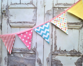 Fabric Bunting Flags, Party Pennant Banner, Buntings Banner Carnival Flags, Circus Pink Red Aqua Yellow Baby Birthday Decor