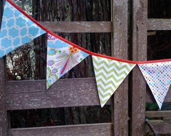 Fabric Bunting Flags Bamboo Green Chevron, Aqua Geometric, Modern Lotus Design, and Colorful Dots