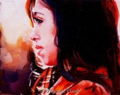 Colorful Original Small Oil Painting of a Beautiful Brunette Woman in Profile at Sunset 5 x 7