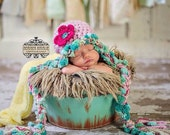 Crochet Baby Girl Hat, Newborn Photo Prop, Earflaps and Braids, pick a size, baby girl, Pink Hat, Flower, Shabby Chic, Aqua Blue