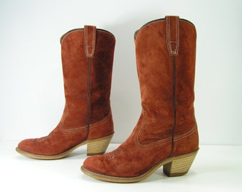 vintage wolverine cowboy boots womens 6 M rust brown western leather cowgirl high heel