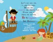 Pirate and Mermaid Birthday Party Invitation-Digital File