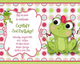 Frog invitation, frog birthday, frog baby shower, frog invite, frog theme, frog party froggy invite, cute frog, frogs party -Digital File