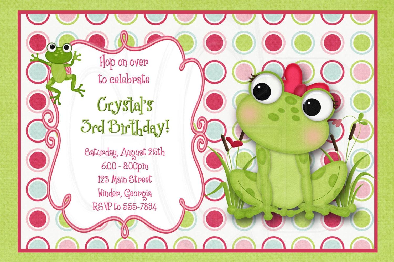 Frog Birthday Invitation Or Baby Shower Invite Digital File