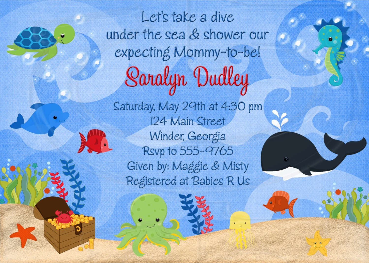 under the sea baby shower or birthday invitation digital