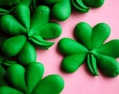 Cake Decorations- Shamrocks- St. Patrick's Day-  Royal Icing Handmade Cupcake Toppers (12)