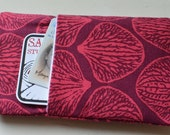 iphone 5 cover, iphone 4 sleeve, phone case, coral illustration pouch made with lovely linen cotton fabric