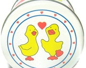 Vintage Tin Ducks and Hearts Spring Love Round Box