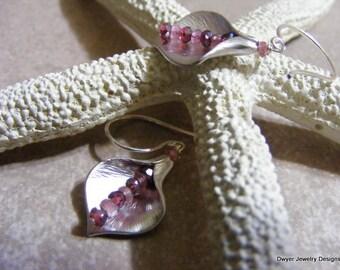 Pink Tourmaline and Diamond Cut Garnet Earrings.
