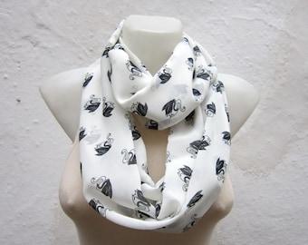 Swan Printed Infinity Scarf, Loop Animal Accessories, Circle Scarves, White Chiffon scarf, Tube Neckwarmer, Eternity Scarf, Black White
