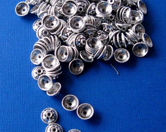 Silver Plated, Pewter Bead Caps, Jewelry Findings,  Craft Supplies, Bead Cap Findings, Bead Supplies,  Jewelry Making Beads, 11mm (24)
