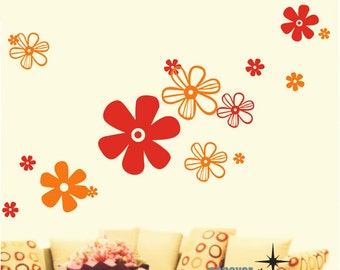 18Pcs Flowers Two Colors----Removable Graphic Art wall decals stickers home decor