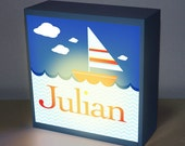 "SALE* Boy personalized custom light, 8"" x 8"" sailboat name art night lamp baby shower gift nursery light baby nursery night light"
