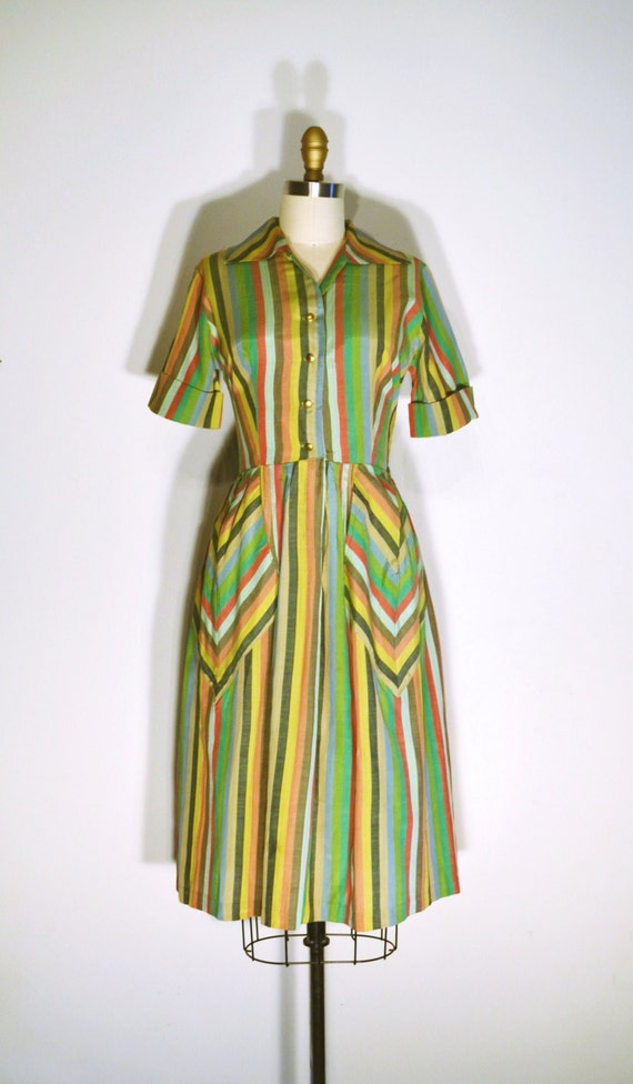 1940s Day Wear: Vintage 1940s Dress 40s Day Dress Green By LizsVintageSoffitta