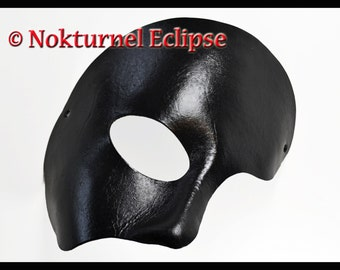 Black Phantom Leather Half Mask Theater Opera Masquerade Fantasy Halloween Costume Party Cosplay Unisex - Available in Any Basic Color